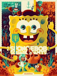 SpongeBob SquarePants Screen Print by Tom Whalen