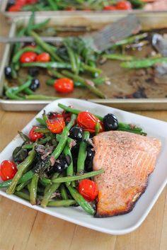 tray baked salmon with veggies.