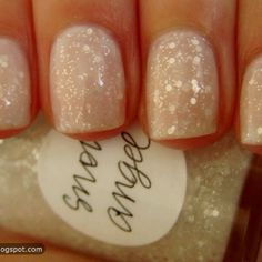 It looks like a Christmas snow scene on your fingernails!