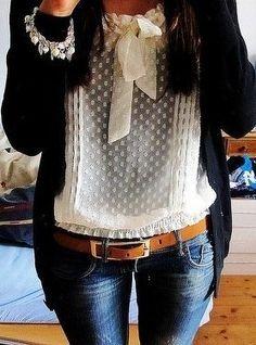 Sheer dot blouse tucked in to skinny jeans, whiskey leather belt, black cardi, pearl bracelet