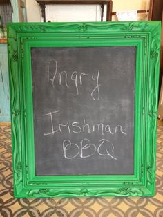 Chalk board / old frame. By Flippin' Junk. Painted with general finishes milk paint Emerald & Van dyke brown glaze.
