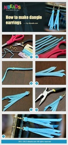 Summary: This is a pair of quick and easy to make earrings of long leather tassels. Cut strips of leather in different lengths and secure them with jump ring. Then add earring hooks. Isn't it simple to learn how to make dangle earrings. Diy Leather Earrings, Leather Tassel, Tassel Earrings, Dangle Earrings, Chandelier Earrings, Leather Jewelry Making, Starfish Earrings, Amber Earrings, Gold Chandelier