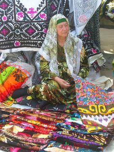 The lady of the scarves . Uzbekistan