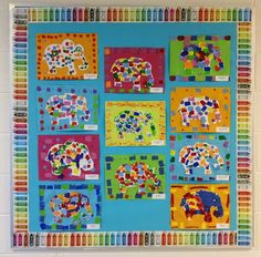 Elmer the Elephant Paintings to do with children after reading the book and doing all the yoga poses Preschool Artist Theme, Preschool Activities, Book Activities, Elephant Theme, Elephant Art, Elephant Paintings, Nursery Rhyme Crafts, Elmer The Elephants, First Grade Art