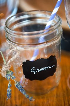 Mason jars, twine, chevron straws from amazon, labels from Etsy, white marker, and lavender sprigs.