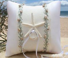 Beach Wedding Ring PillowSeaweed Green by SHELSEASTUDIO on Etsy, $95.00
