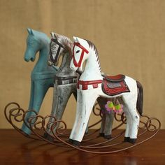 caballo mecedora de madera