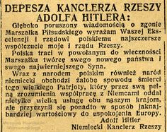 Letter of Condolence from A. Hiltler after the death of Marshal Józef Piłsudski