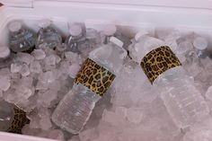 fashionable cheetah print ductape + juice or water bottles makes for super cool party drinks
