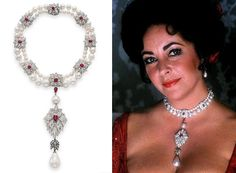 Elizabeth Taylor's Cartier creation of pearls, rubies and diamonds, featuring La Peregrina.