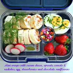 Vegetarian lunch made cute with mini wraps. Lunch packed in Tutti Frutti Yumbox Panino.