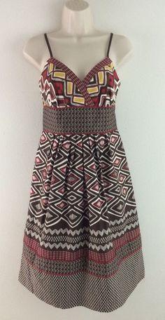 A.N.A. Red Multi Color Bold Geometric Cotton Sun Dress L Large #ana #Sundress #Casual