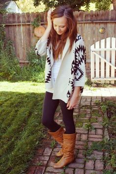 Aztec Cardigan With Leather Long Boots