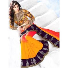 Splendid Golden Yellow and Coral Red Saree