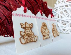 Handmade Christmas Gift Tags Pack of 3 Large 3D by CardsbyGaynor, £3.95
