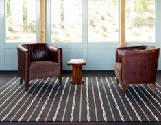 This brown rug's weave of thin-felted wools has a dimensional pop thanks to a play of unstructured lines. Verona, Striped Rug, Brown Rug, Jacquard Weave, Beige Area Rugs, Woven Rug, Rugs In Living Room, Wool Felt