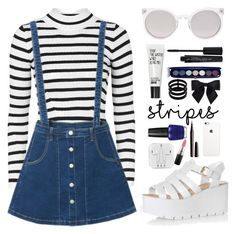 """Stripes."" by katarinamm ❤ liked on Polyvore featuring Topshop, Kosha, Glamorous, Smashbox, Marc Jacobs, Repossi, Chanel, OPI, MAC Cosmetics and stripes"