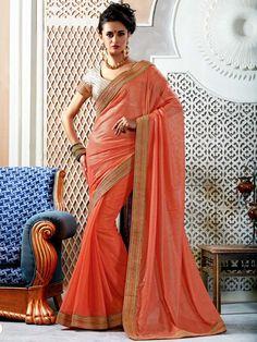 Alluring dark peach color #Chiffon #Saree with golden #Zari, #Kundan and pearls work. Item Code: SKA1261 http://www.bharatplaza.com/new-arrivals/sarees.html