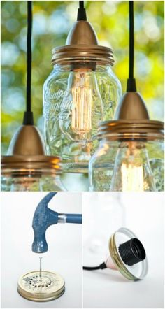 4 Steps to Create Budget-Friendly Lights And 16 Incredible DIY Lights We show you how easy it is to create your own lighting with budget friendly lights, plus 16 great DIY pendant light ideas and unique pendant light shades. Hanging Mason Jar Lights, Mason Jar Pendant Light, Diy Pendant Light, Mason Jar Lighting, Mason Jar Lamp, Pendant Lighting, Industrial Lighting, Outdoor Lighting, Kitchen Lighting