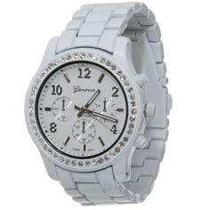 15DOLLARSTORE.COM - GENEVA Rhinestone Chronograph Lacquered Watch (White)