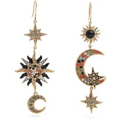 Roberto Cavalli Sun, star and moon-embellished drop earrings ($598) ❤ liked on Polyvore featuring jewelry, earrings, boho earrings, boho jewelry, glitter earrings, vintage jewelry and vintage earrings