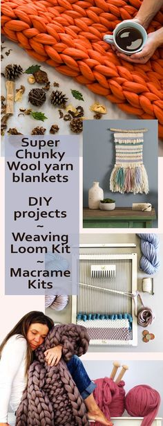 DIY Weaving, Macrame, Giant Knitting, Crochet & Yarns. What a great idea for Christmas gifts ~ either to make, buy pre-made, or gift someone with a DIY project kit. Great for the crafty people in your life. #craft #DIY #yarn #chunkyyarn #wool #loom #macrame #affiliatelink