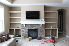 Built In Bookcase Around Fireplace Luxury Hammers and High Heels Feature Project Holly and Brian S Fireplace Redo, Fireplace Built Ins, Bookshelves Built In, Fireplace Remodel, Brick Fireplace, Fireplace Design, Bookcases, Fireplace Bookshelves, Brick Walls
