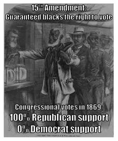 Amendment, passed ratified Guaranteed blacks the right to vote. Republicans voted for the rights of blacks to votes, but democrats did not. 15th Amendment, Right To Vote, Bill Of Rights, Out Of Touch, Conservative Politics, Political Views, Our Country, God Bless America, Black History