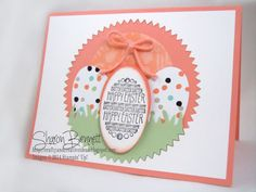 """Stamps: Eggstra Spectacular #133071 Paper: Sweet Sorbet, Pistachio Pudding, Crisp Cantaloupe, Whisper White Accessories: 2-1/2"""" Circle Pun..."""