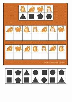 Board and tiles for the cat visual perception game. By Autismespektrum English Activities, Preschool Learning Activities, Busy Boxes, Visual Memory, Learning Through Play, Exercise For Kids, Lessons For Kids, Fun Math, In Kindergarten