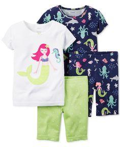 Carter's Girls' or Little Girls' 4-Piece Mermaid Pajama Set