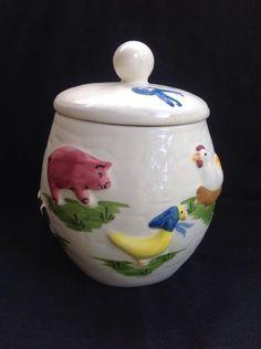 """1950's Cookie Jars Vintage Gilner Ceramic Brown Bear Cookie Jar 1950S Usa """"licking Lips"""