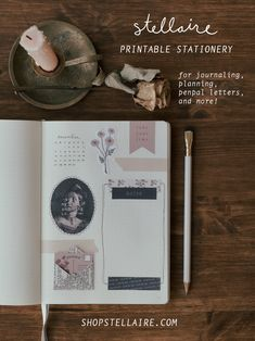Printable stationery for journaling, planning, penpal letters, and more! See the entire collection from Stellaire. Journal Inspiration, Journal Ideas, Creative Notebooks, Pen Pal Letters, Mail Ideas, Bullet Journal Aesthetic, Vintage Lettering, My Journal, Sticker Shop