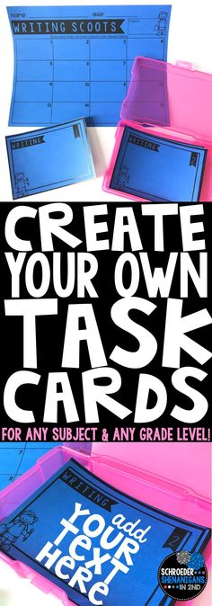 These task cards are great for any grade level and any subject area as they are completely editable! The editable task card templates can be used with reading, math, writing, grammar, vocabulary, science, or social studies. They also include a variety of response sheets for you to print and use with the task cards that you create. Task cards created by Schroeder Shenanigans in 2nd.