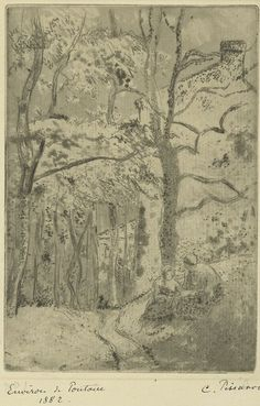 La Maison Rondest, a l'Hermitage (1882) etching by Camille Pissarro