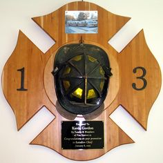 A&A Custom Designs can design custom awards, plaques, clock and other items for any occasion. Firefighter Bar, Maltese Cross Firefighter, Firefighter Home Decor, Fire Dept, Fire Department, Fire Hose, Fire Extinguisher, Daughter In Law Gifts, Wall Hanger