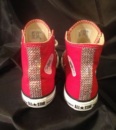 Red HIGHtop Chuck Taylor's with Swarovski Crystals!!!! All custom work…. to place a order email theworldofjeladore@gmail.com To Discover the World of Je L'adore  Follow on Instagram at Jeladore23  Follow on Facebook at Je L'adore Follow on Pinterest Je L'adore