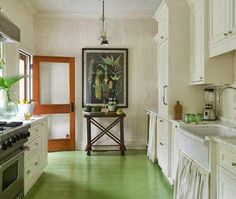 painted floors our favorite green rooms coastal living Painted Kitchen Floors, New Kitchen Cabinets, Painted Floors, Kitchen Flooring, English Country Kitchens, Country Kitchen Designs, Living Room Green, Green Rooms, Living Rooms