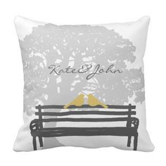 Shop Birds on a Park Bench Wedding Throw Pillow created by TheBrideShop. Custom Pillows, Decorative Throw Pillows, Chalkboard Wedding Invitations, Wedding Pillows, Cushions, Birds, Park, Wedding Decor, Chic Wedding