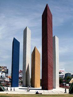 Torres de Satélite, Ciudad de México(1957–58),Luis Barragan en colaboración con Mathias Goeritz