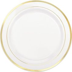White Gold Trimmed Premium Plastic Dinner Plates 10ct - Party City