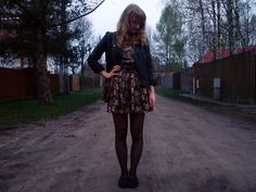 Vintage dress and jacket, New Look Loafers