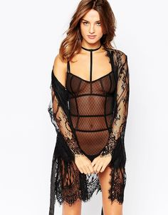 Robe by Ann Summers Sheer lace with eyelash trim Silky-feel waist tie Scalloped hem Hand wash 100% Polyamide