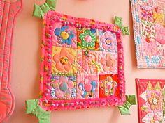 旧パッチワークキット とびだしリボンのデイジータペ - 手芸 通販 アンティーク ファブリック ピンクス