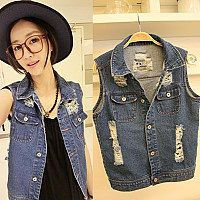 Household names TTJ Amoi hole collar sleeveless denim vest jacket