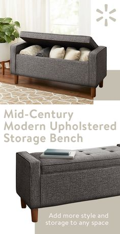 Inspired by Mid-Century design, the Better Homes and Gardens Flynn Upholstered Storage Bench has seating, style and storage all in one. Piping and tufts make it perfectly tailored for a wide array of spaces. Conical solid wood legs are stained a rich and Home Decor Bedroom, Living Room Decor, Diy Home Decor, Home Decor Hacks, Dining Room, Upholstered Storage Bench, My New Room, Better Homes, Mid-century Modern