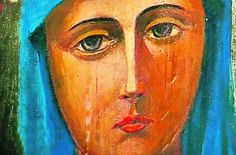 """Why do Icons of the Mother of God weep?"" article - http://iconreader.wordpress.com/2012/06/08/why-do-icons-of-the-mother-of-god-weep/ (Myrrh-flowing Icon of the Maniavskyi Monastery, Ukraine)"