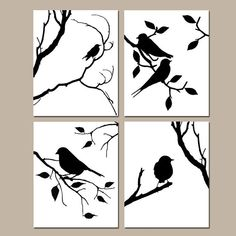Birds of a Feather Wall Art Quad Set of Four 8x10