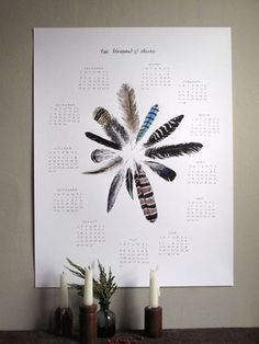 i love calendars and feathers