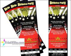 Red Carpet Paparazzi Ticket Invitations Birthday Party Set of 12